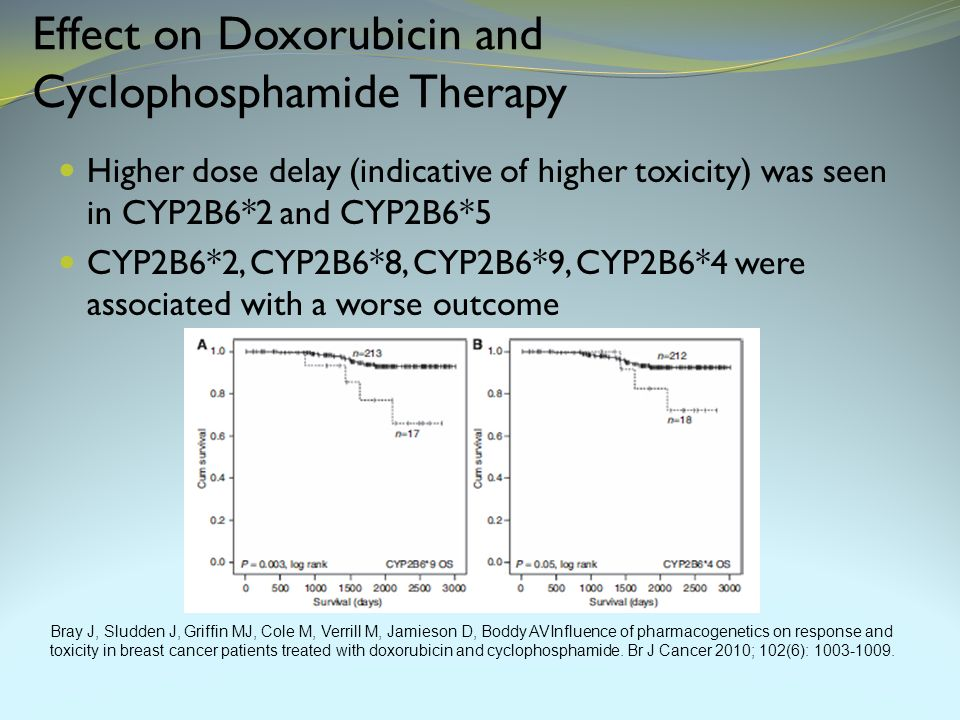 Effect on Doxorubicin and Cyclophosphamide Therapy Higher dose delay (indicative of higher toxicity) was seen in CYP2B6*2 and CYP2B6*5 CYP2B6*2, CYP2B