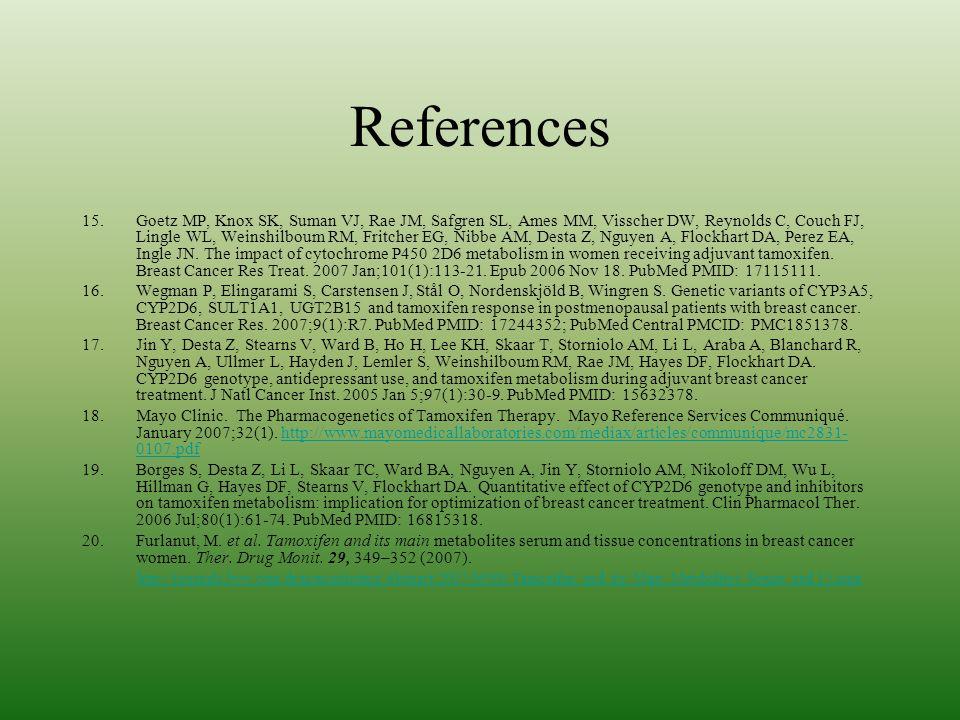 References 15.Goetz MP, Knox SK, Suman VJ, Rae JM, Safgren SL, Ames MM, Visscher DW, Reynolds C, Couch FJ, Lingle WL, Weinshilboum RM, Fritcher EG, Ni