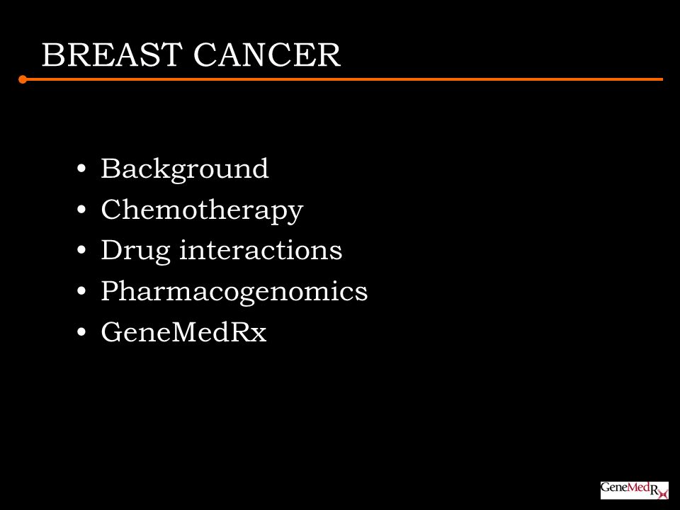 BREAST CANCER Background Chemotherapy Drug interactions Pharmacogenomics GeneMedRx
