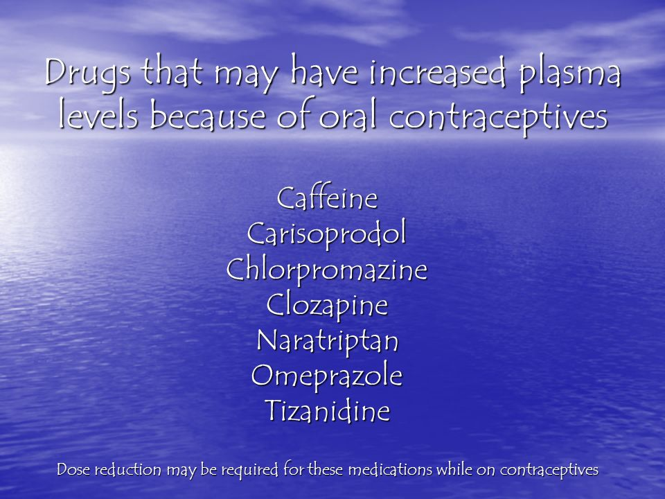 Drugs that may have increased plasma levels because of oral contraceptives CaffeineCarisoprodolChlorpromazineClozapineNaratriptanOmeprazoleTizanidine Dose reduction may be required for these medications while on contraceptives