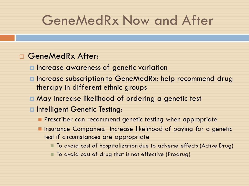 GeneMedRx Now and After GeneMedRx After: Increase awareness of genetic variation Increase subscription to GeneMedRx: help recommend drug therapy in di