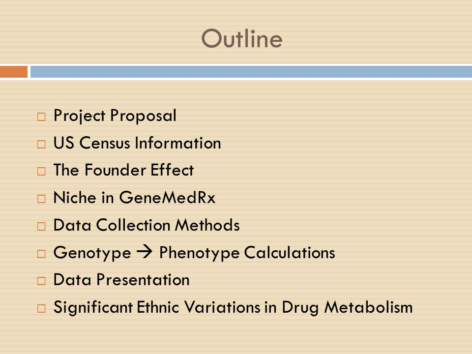 Outline Project Proposal US Census Information The Founder Effect Niche in GeneMedRx Data Collection Methods Genotype Phenotype Calculations Data Pres