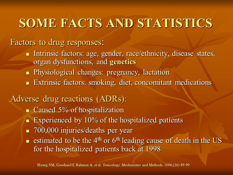 SOME FACTS AND STATISTICS Factors to drug responses : Intrinsic factors: age, gender, race/ethnicity, disease states, organ dysfunctions, and genetics
