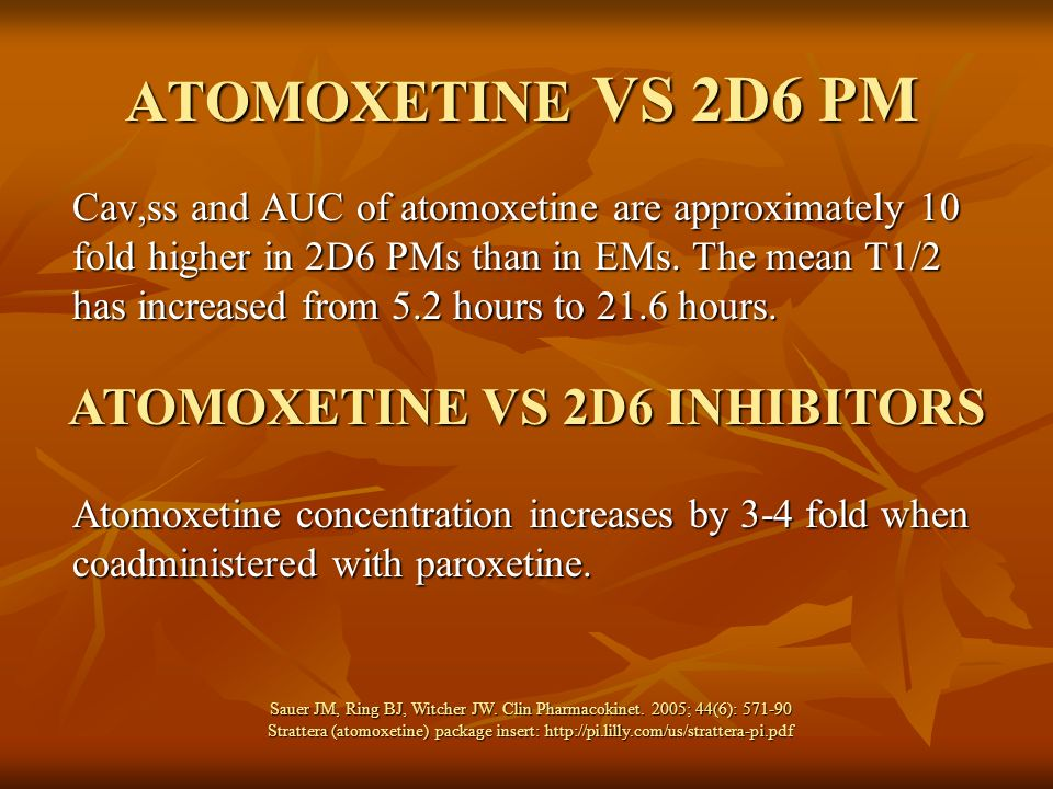 ATOMOXETINE VS 2D6 PM Cav,ss and AUC of atomoxetine are approximately 10 fold higher in 2D6 PMs than in EMs. The mean T1/2 has increased from 5.2 hour