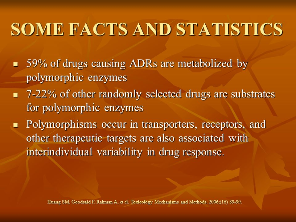 SOME FACTS AND STATISTICS 59% of drugs causing ADRs are metabolized by polymorphic enzymes 59% of drugs causing ADRs are metabolized by polymorphic en