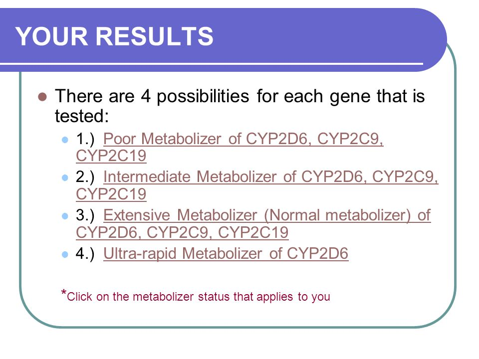 YOUR RESULTS There are 4 possibilities for each gene that is tested: 1.) Poor Metabolizer of CYP2D6, CYP2C9, CYP2C19Poor Metabolizer of CYP2D6, 2.) Intermediate Metabolizer of CYP2D6, CYP2C9, CYP2C19 3.) Extensive Metabolizer (Normal metabolizer) of CYP2D6, CYP2C9, CYP2C19Extensive Metabolizer 4.) Ultra-rapid Metabolizer of CYP2D6Ultra-rapid Metabolizer of CYP2D6 * Click on the metabolizer status that applies to you