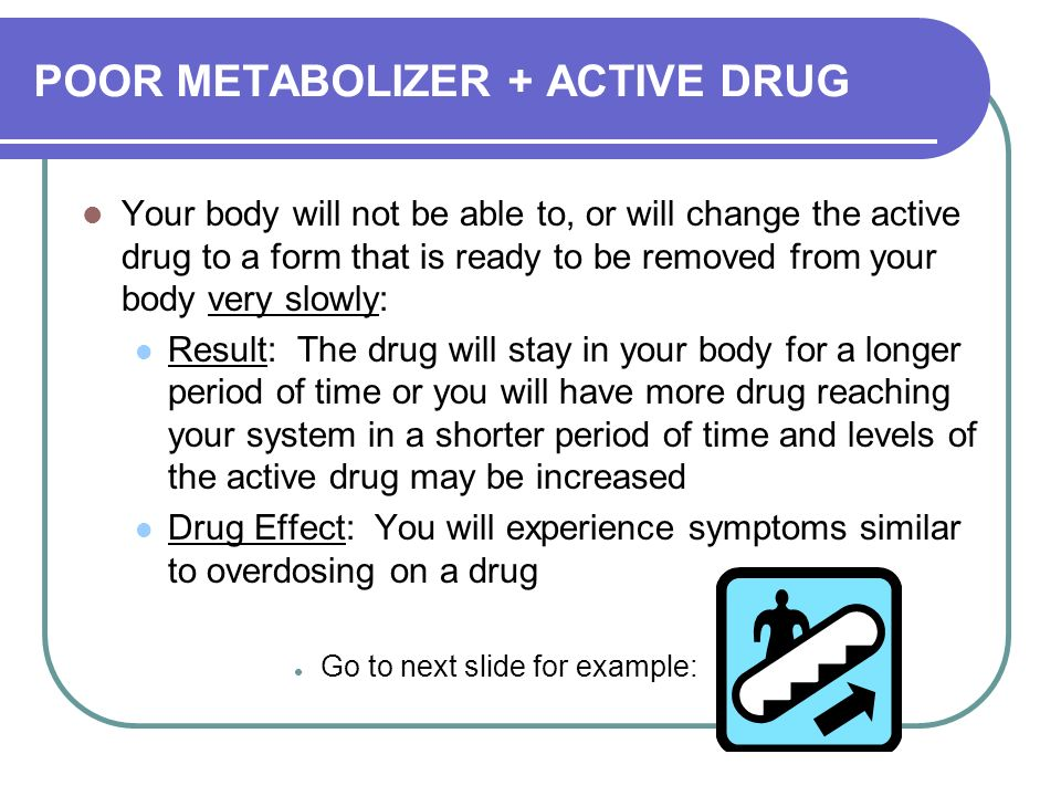 POOR METABOLIZER + ACTIVE DRUG Your body will not be able to, or will change the active drug to a form that is ready to be removed from your body very slowly: Result: The drug will stay in your body for a longer period of time or you will have more drug reaching your system in a shorter period of time and levels of the active drug may be increased Drug Effect: You will experience symptoms similar to overdosing on a drug Go to next slide for example:
