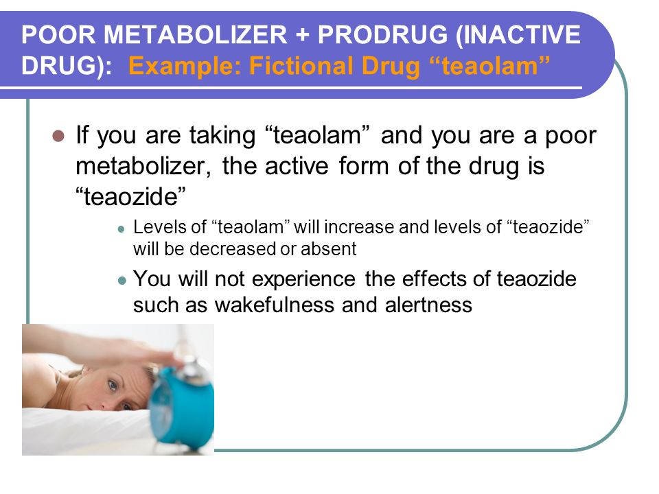 POOR METABOLIZER + PRODRUG (INACTIVE DRUG): Example: Fictional Drug teaolam If you are taking teaolam and you are a poor metabolizer, the active form of the drug is teaozide Levels of teaolam will increase and levels of teaozide will be decreased or absent You will not experience the effects of teaozide such as wakefulness and alertness