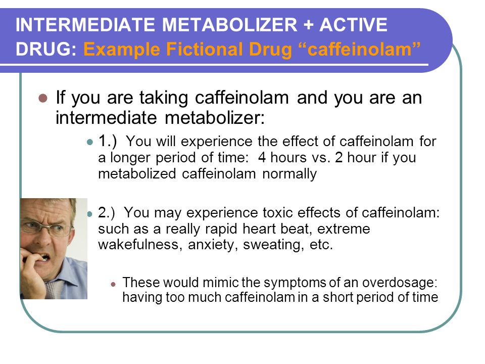 INTERMEDIATE METABOLIZER + ACTIVE DRUG: Example Fictional Drug caffeinolam If you are taking caffeinolam and you are an intermediate metabolizer: 1.) You will experience the effect of caffeinolam for a longer period of time: 4 hours vs.