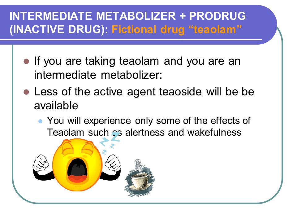 INTERMEDIATE METABOLIZER + PRODRUG (INACTIVE DRUG): Fictional drug teaolam If you are taking teaolam and you are an intermediate metabolizer: Less of the active agent teaoside will be be available You will experience only some of the effects of Teaolam such as alertness and wakefulness