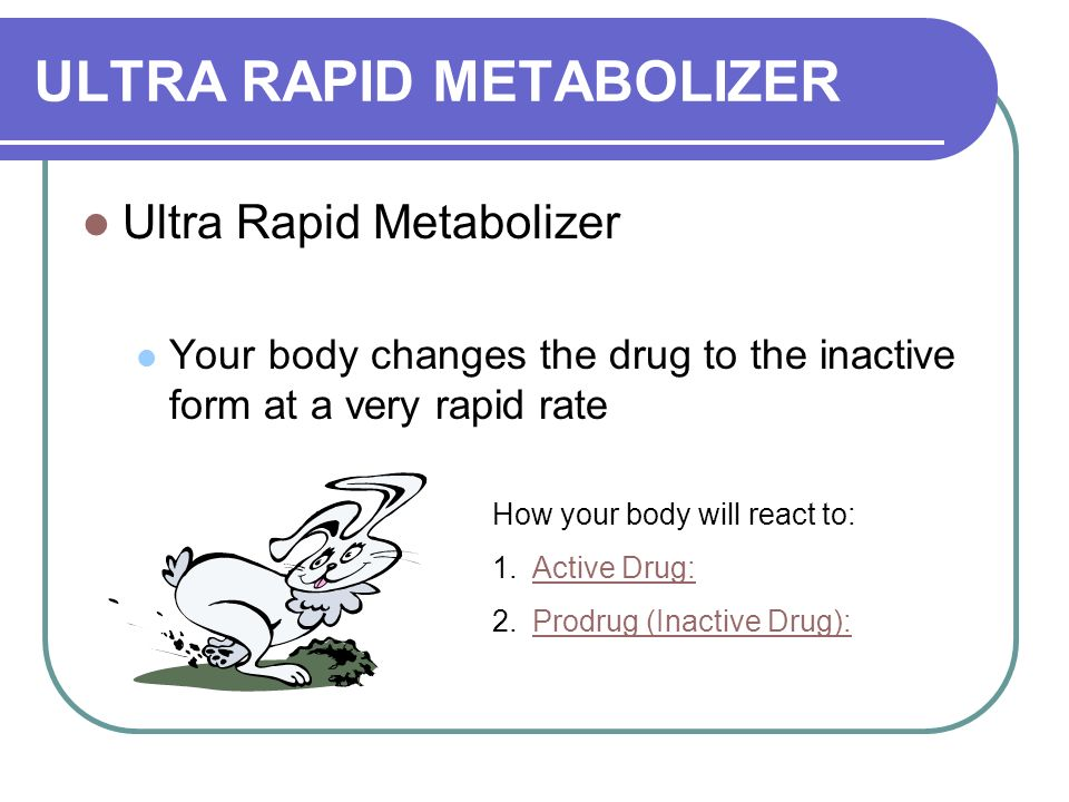 ULTRA RAPID METABOLIZER Ultra Rapid Metabolizer Your body changes the drug to the inactive form at a very rapid rate How your body will react to: 1.Active Drug:Active Drug: 2.Prodrug (Inactive Drug):Prodrug (Inactive Drug):