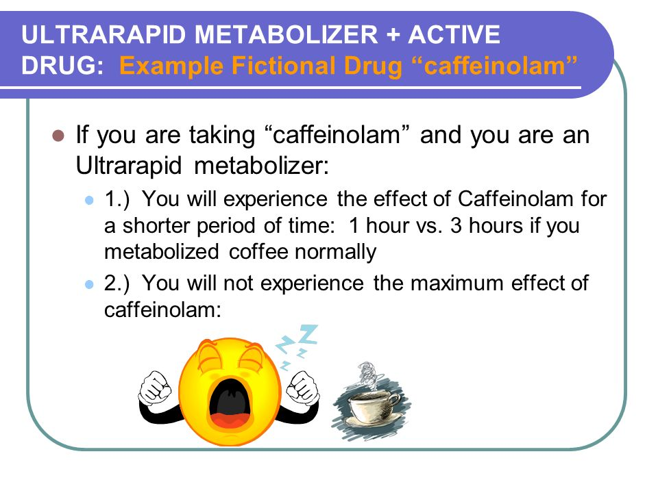 ULTRARAPID METABOLIZER + ACTIVE DRUG: Example Fictional Drug caffeinolam If you are taking caffeinolam and you are an Ultrarapid metabolizer: 1.) You will experience the effect of Caffeinolam for a shorter period of time: 1 hour vs.