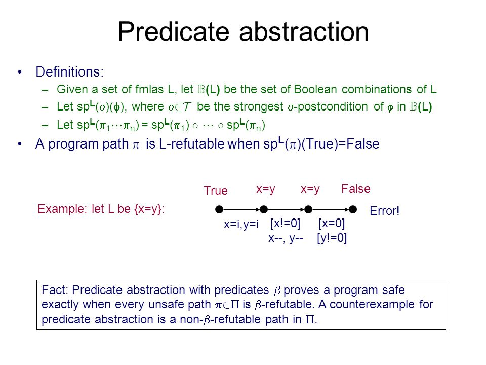 Predicate abstraction Definitions: –Given a set of fmlas L, let B (L) be the set of Boolean combinations of L –Let sp L ( )( ), where 2T be the strongest -postcondition of in B (L) –Let sp L ( 1 n ) = sp L ( 1 ) ± ± sp L ( n ) A program path is L-refutable when sp L ( )(True)=False x=i,y=i [x!=0] x--, y-- [x=0] [y!=0] Error.