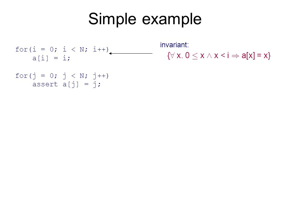 Simple example for(i = 0; i < N; i++) a[i] = i; for(j = 0; j < N; j++) assert a[j] = j; { 8 x.