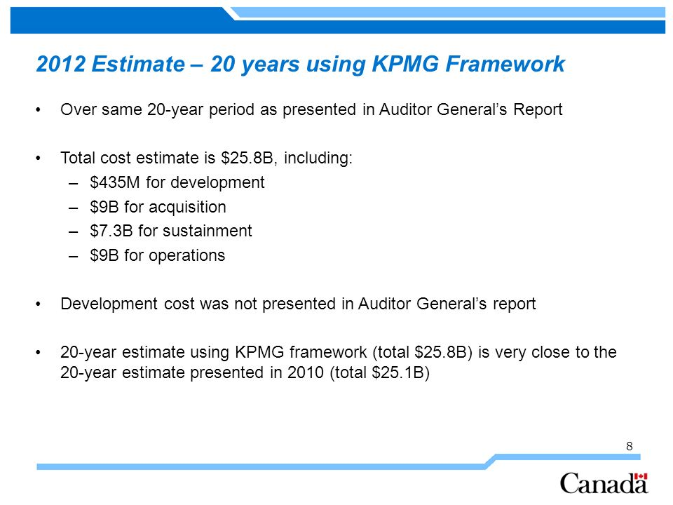2012 Estimate – 20 years using KPMG Framework Over same 20-year period as presented in Auditor Generals Report Total cost estimate is $25.8B, includin