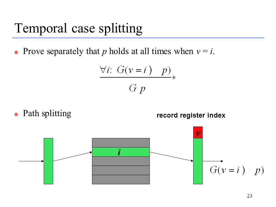 23 Temporal case splitting l Prove separately that p holds at all times when v = i. l Path splitting v record register index i