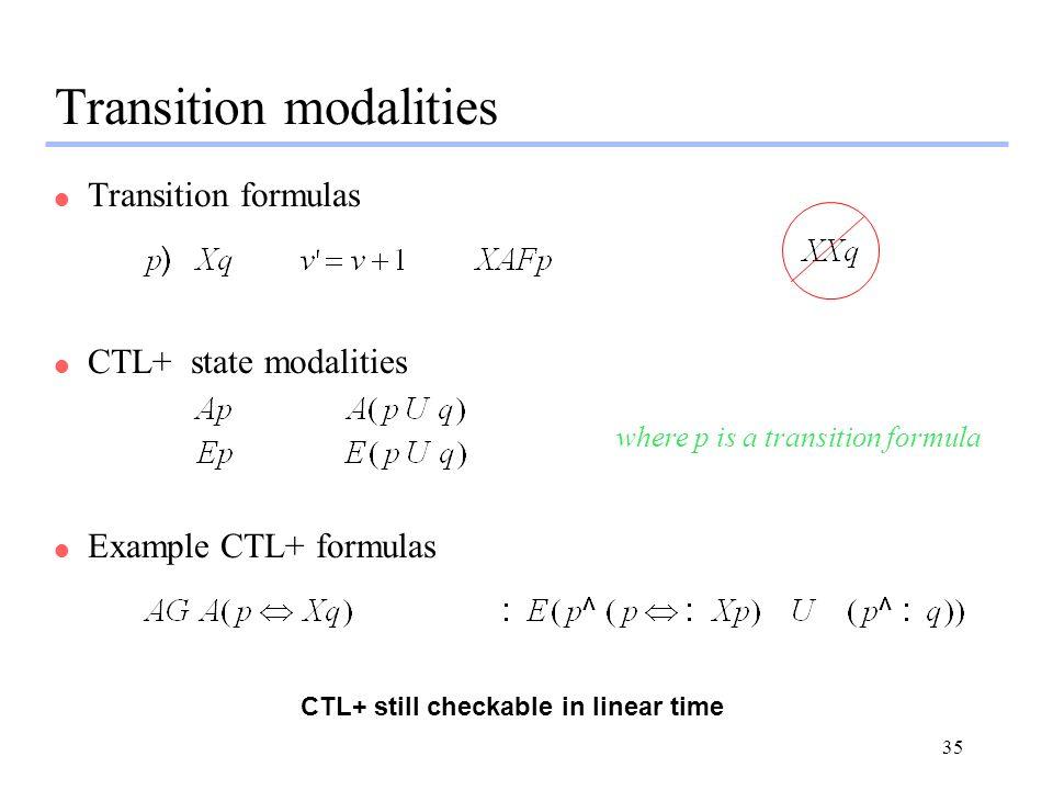 35 Transition modalities l Transition formulas l CTL+ state modalities where p is a transition formula l Example CTL+ formulas CTL+ still checkable in