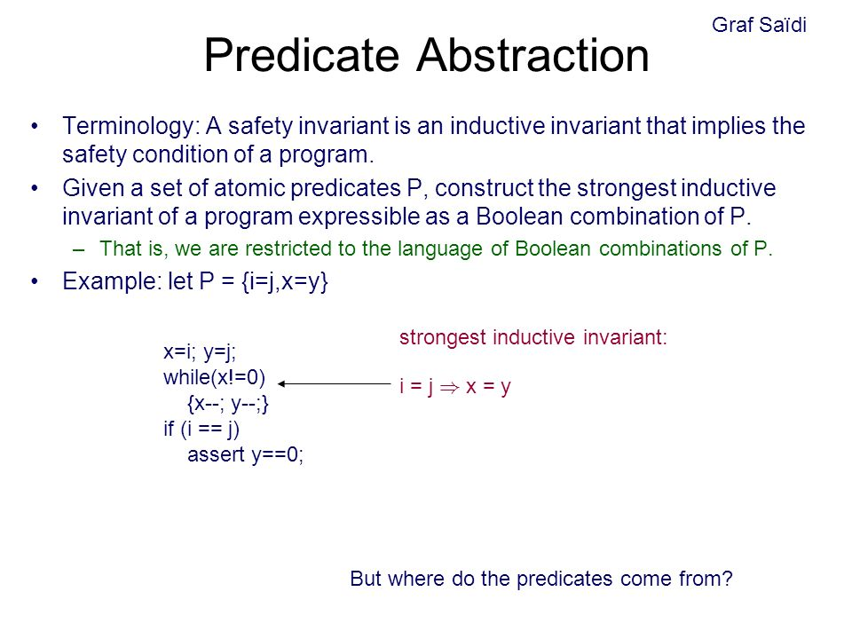 Predicate Abstraction Terminology: A safety invariant is an inductive invariant that implies the safety condition of a program.
