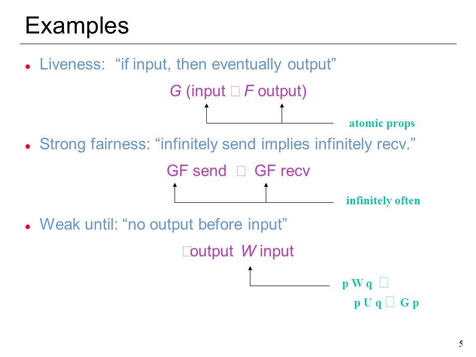5 5 Examples l Liveness: if input, then eventually output G (input F output) l Strong fairness: infinitely send implies infinitely recv. GF send GF re
