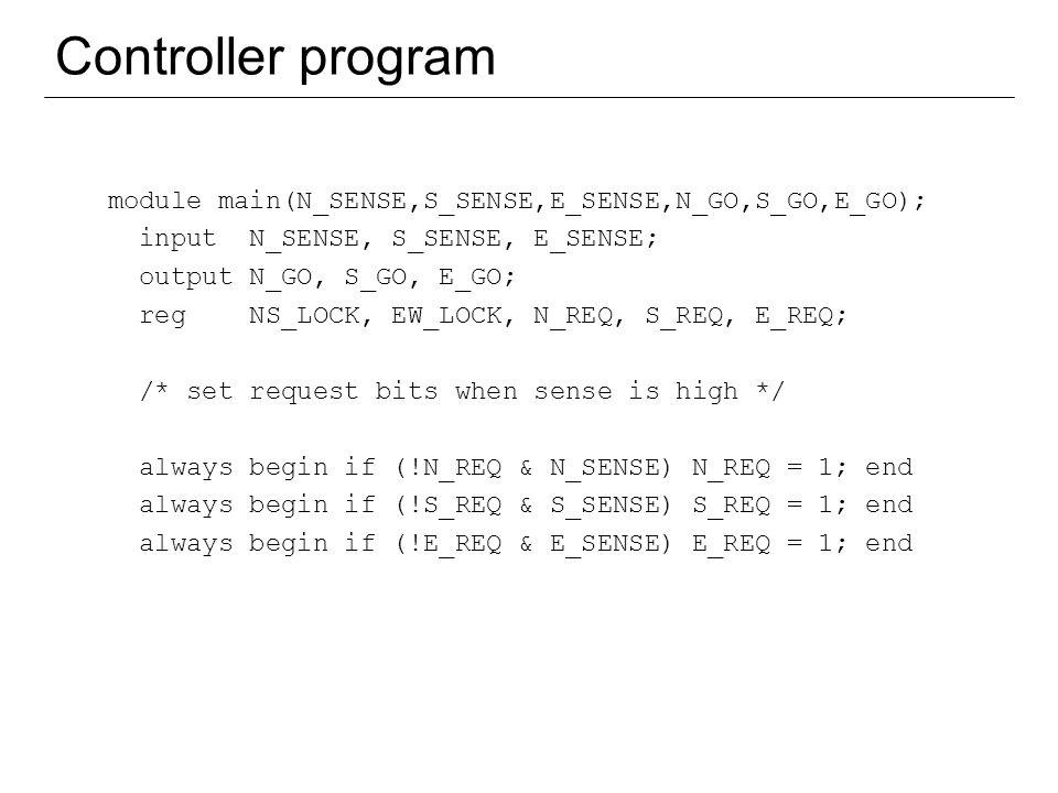 11 Controller program module main(N_SENSE,S_SENSE,E_SENSE,N_GO,S_GO,E_GO); input N_SENSE, S_SENSE, E_SENSE; output N_GO, S_GO, E_GO; reg NS_LOCK, EW_L