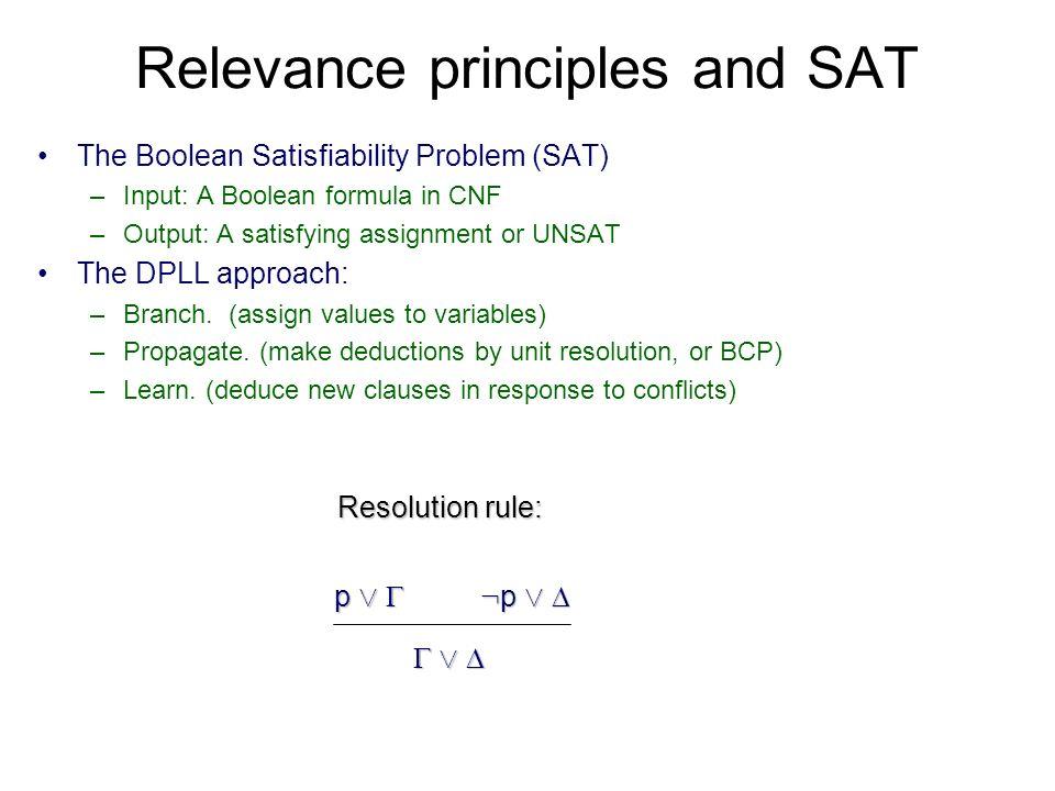 DPLL approach ( a b) ( b c d) ( b d) c a Decisions b d Conflict.