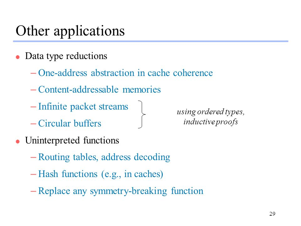 29 Other applications l Data type reductions –One-address abstraction in cache coherence –Content-addressable memories –Infinite packet streams –Circu