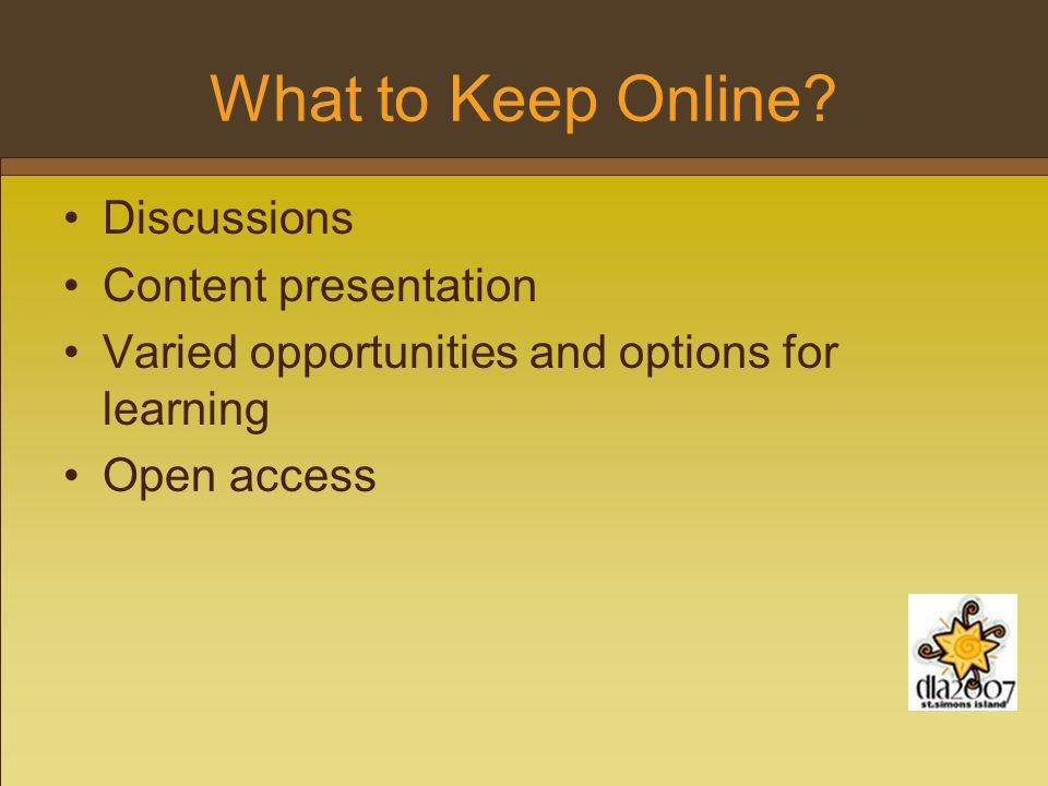 What to Keep Online.