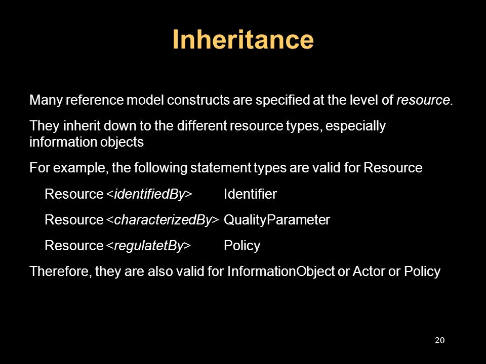 20 Inheritance Many reference model constructs are specified at the level of resource.
