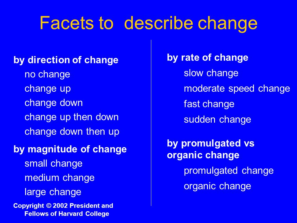Facets to describe change by direction of change no change change up change down change up then down change down then up by magnitude of change small