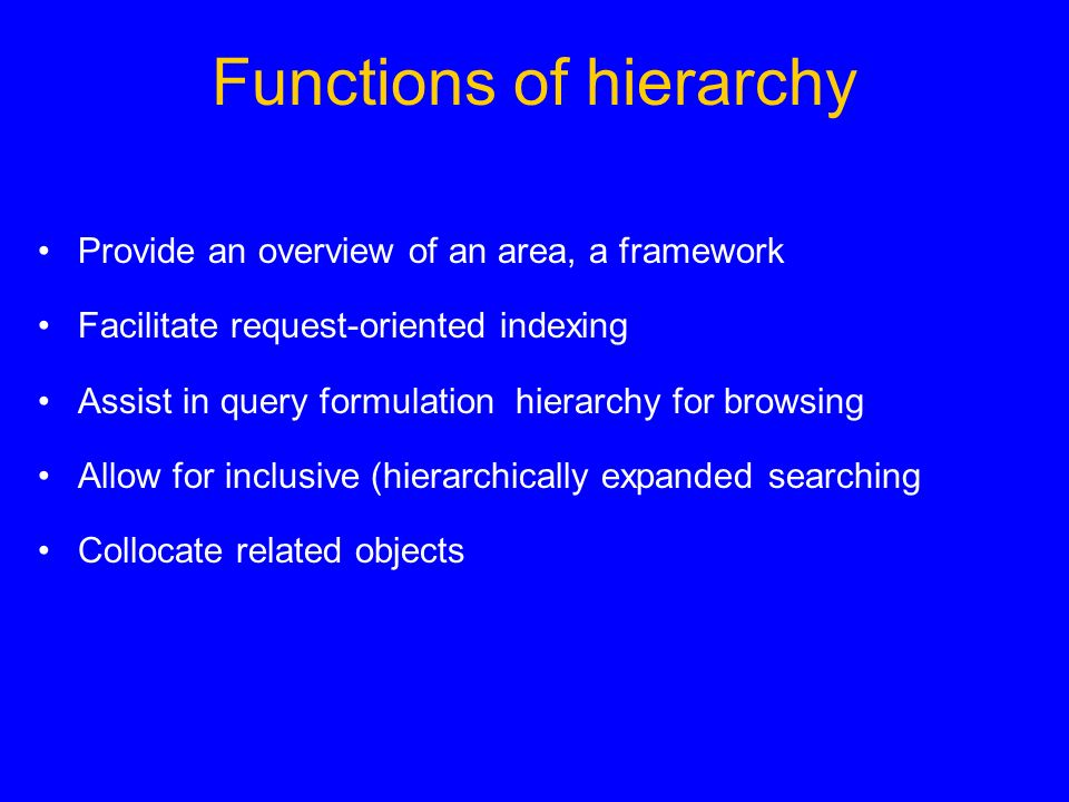 Functions of hierarchy Provide an overview of an area, a framework Facilitate request-oriented indexing Assist in query formulation  hierarchy for browsing Allow for inclusive (hierarchically expanded searching Collocate related objects