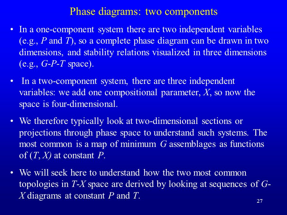 27 Phase diagrams: two components In a one-component system there are two independent variables (e.g., P and T), so a complete phase diagram can be dr