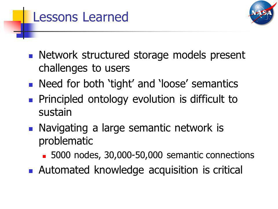 Lessons Learned Network structured storage models present challenges to users Need for both tight and loose semantics Principled ontology evolution is