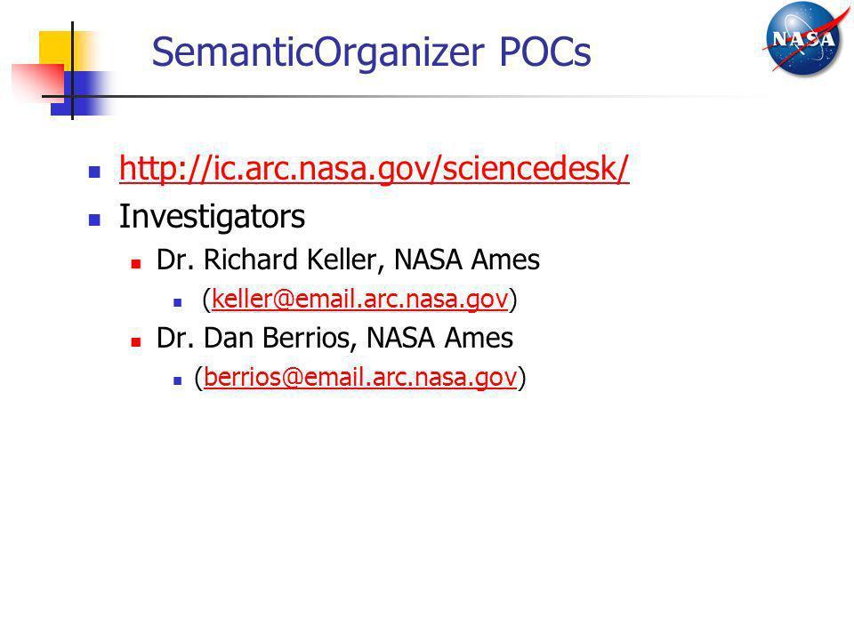 SemanticOrganizer POCs http://ic.arc.nasa.gov/sciencedesk/ Investigators Dr. Richard Keller, NASA Ames (keller@email.arc.nasa.gov)keller@email.arc.nas