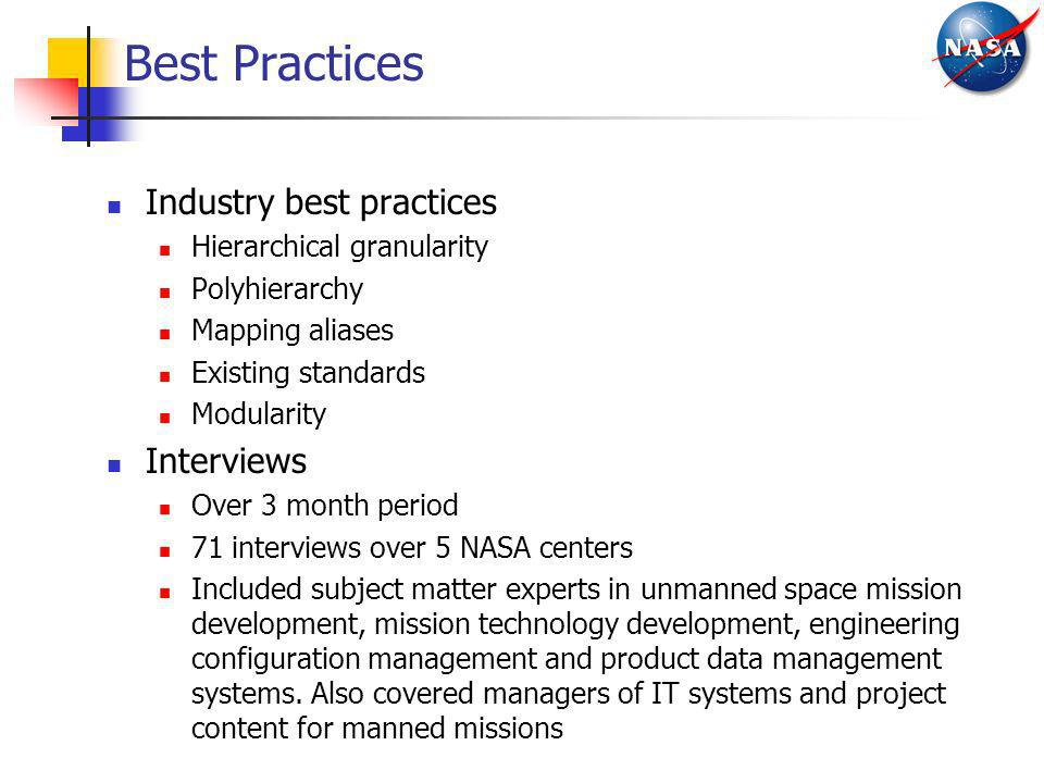 Best Practices Industry best practices Hierarchical granularity Polyhierarchy Mapping aliases Existing standards Modularity Interviews Over 3 month pe