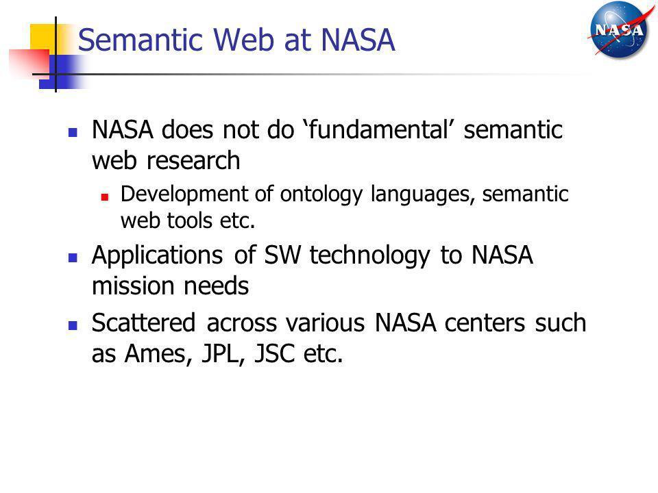 Semantic Web at NASA NASA does not do fundamental semantic web research Development of ontology languages, semantic web tools etc. Applications of SW