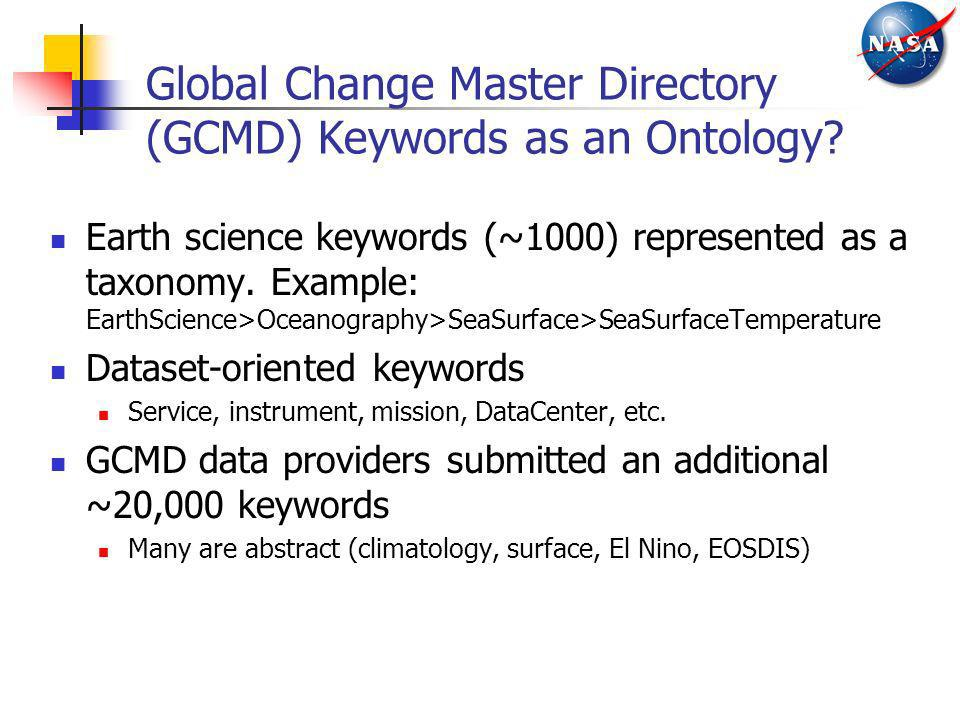 Global Change Master Directory (GCMD) Keywords as an Ontology? Earth science keywords (~1000) represented as a taxonomy. Example: EarthScience>Oceanog
