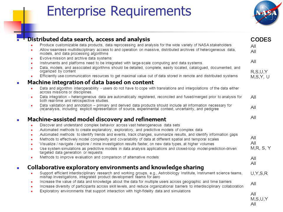 Enterprise Requirements Distributed data search, access and analysis Produce customizable data products, data reprocessing and analysis for the wide v