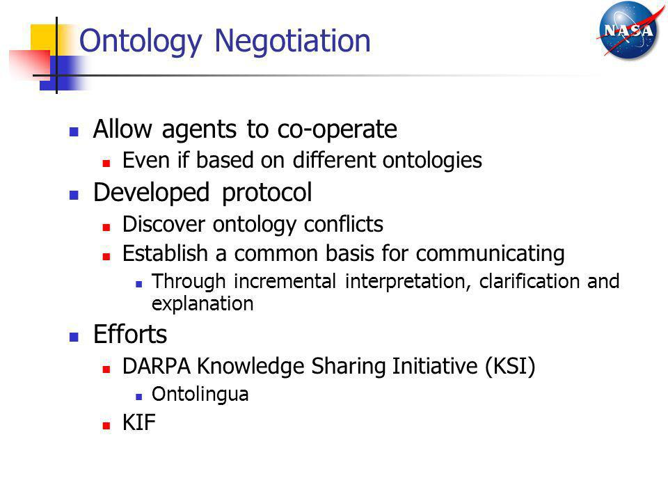 Allow agents to co-operate Even if based on different ontologies Developed protocol Discover ontology conflicts Establish a common basis for communica