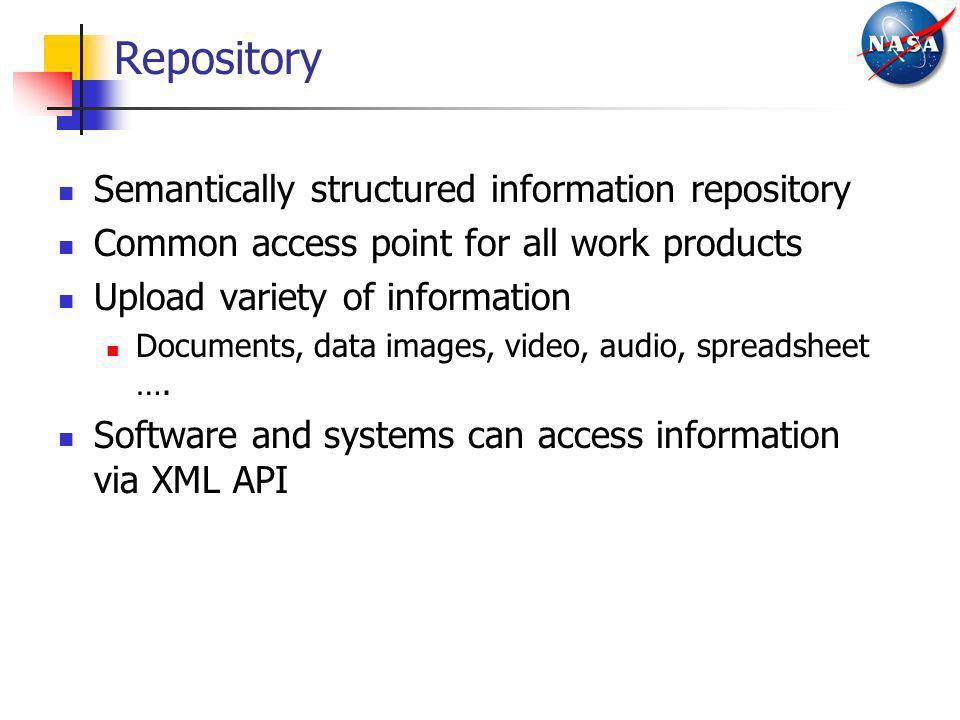 Repository Semantically structured information repository Common access point for all work products Upload variety of information Documents, data imag