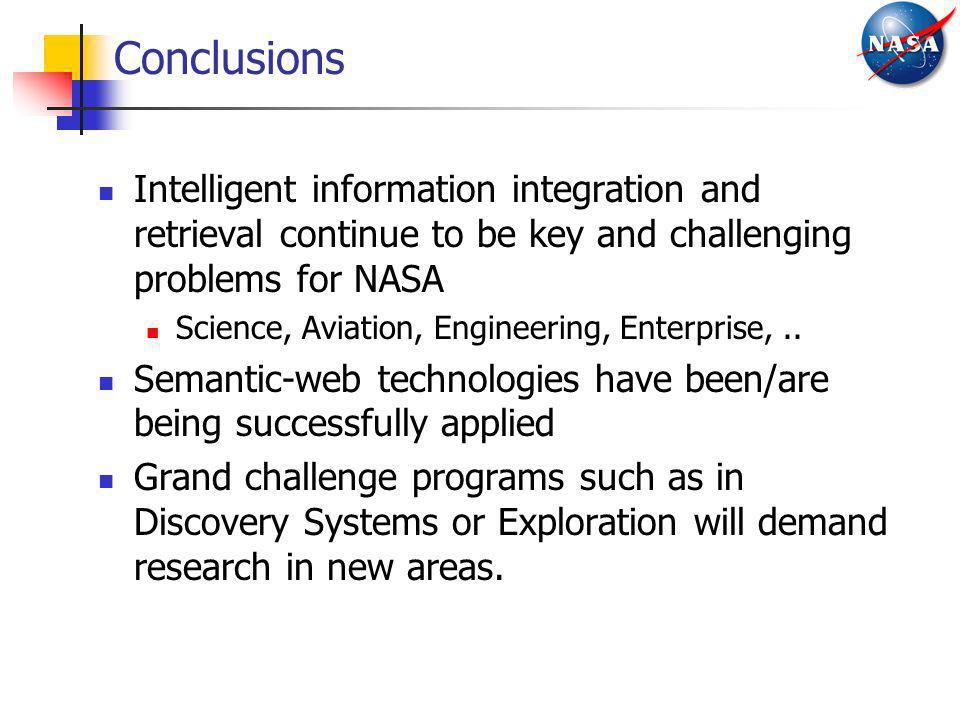 Conclusions Intelligent information integration and retrieval continue to be key and challenging problems for NASA Science, Aviation, Engineering, Ent