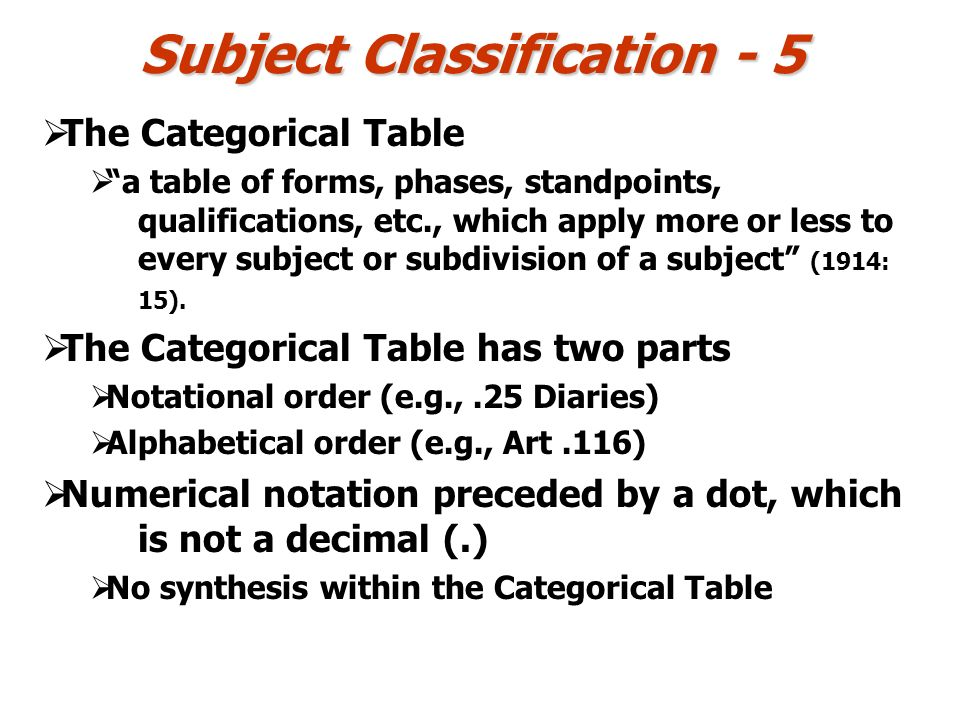 Subject Classification - 5 The Categorical Table a table of forms, phases, standpoints, qualifications, etc., which apply more or less to every subjec
