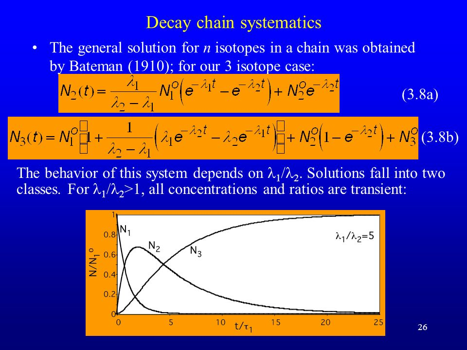 26 Decay chain systematics The general solution for n isotopes in a chain was obtained by Bateman (1910); for our 3 isotope case: (3.8a) (3.8b) The be