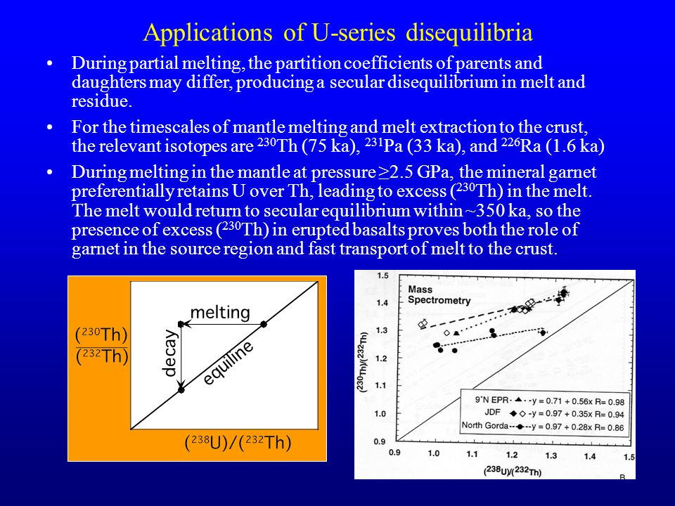 30 Applications of U-series disequilibria During partial melting, the partition coefficients of parents and daughters may differ, producing a secular