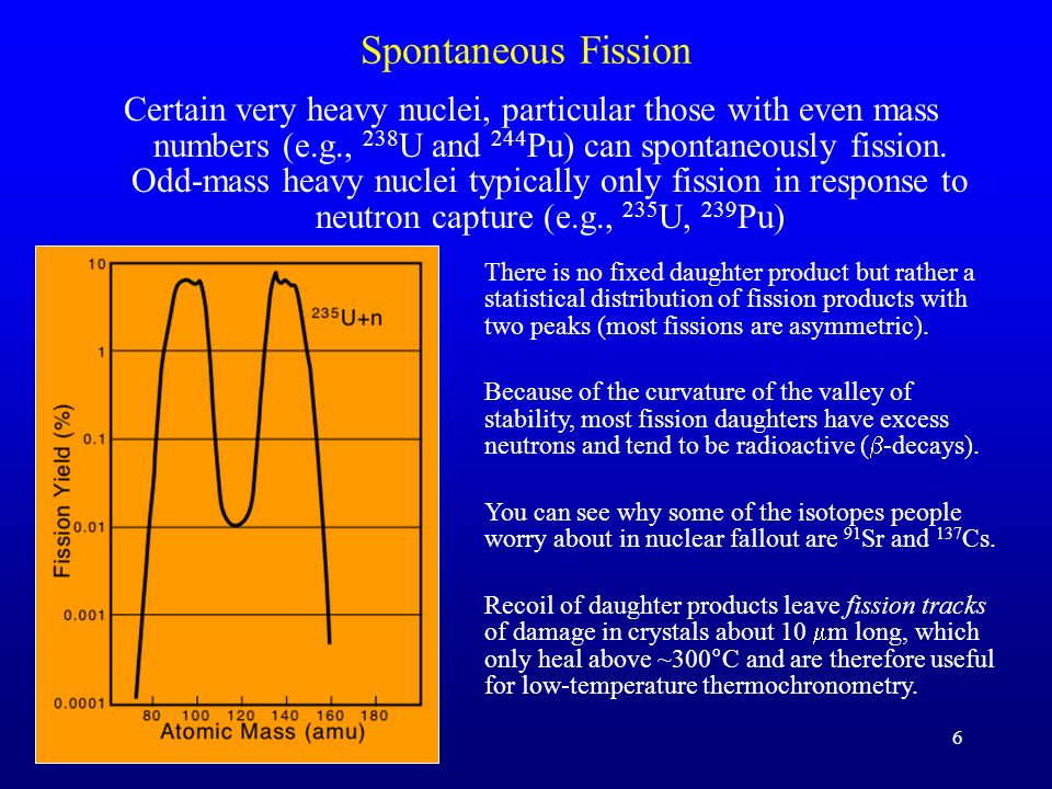 6 Spontaneous Fission Certain very heavy nuclei, particular those with even mass numbers (e.g., 238 U and 244 Pu) can spontaneously fission. Odd-mass