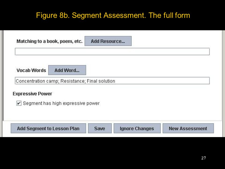 27 Figure 8b. Segment Assessment. The full form