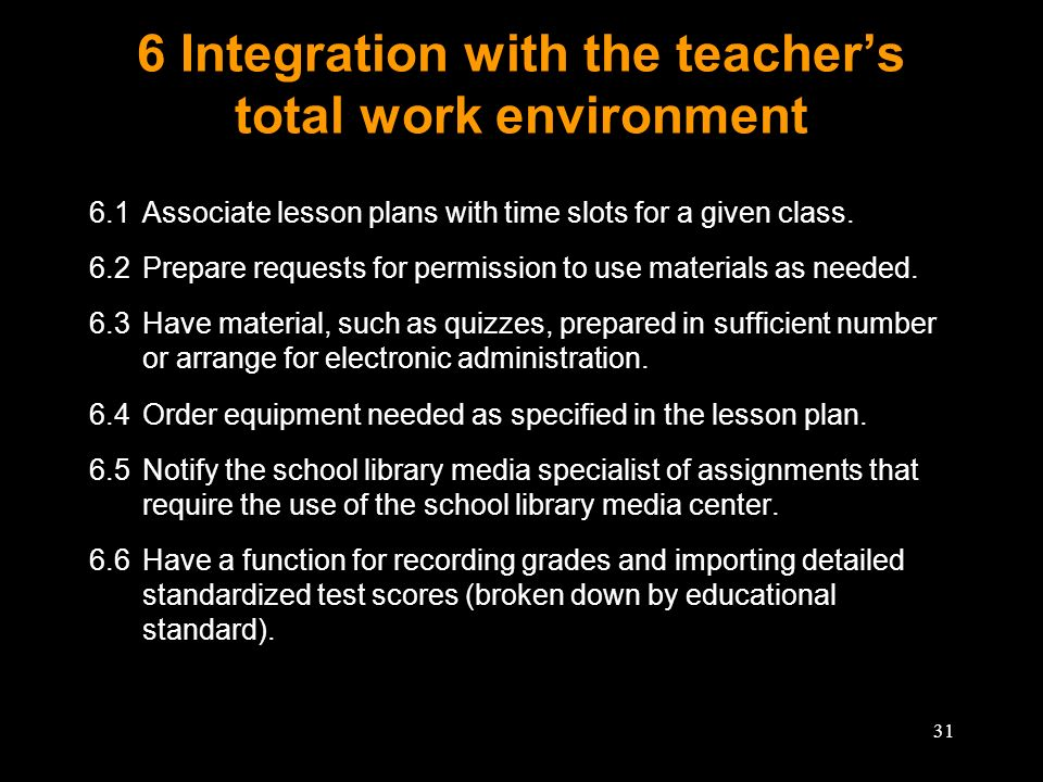 31 6 Integration with the teachers total work environment 6.1Associate lesson plans with time slots for a given class. 6.2Prepare requests for permiss