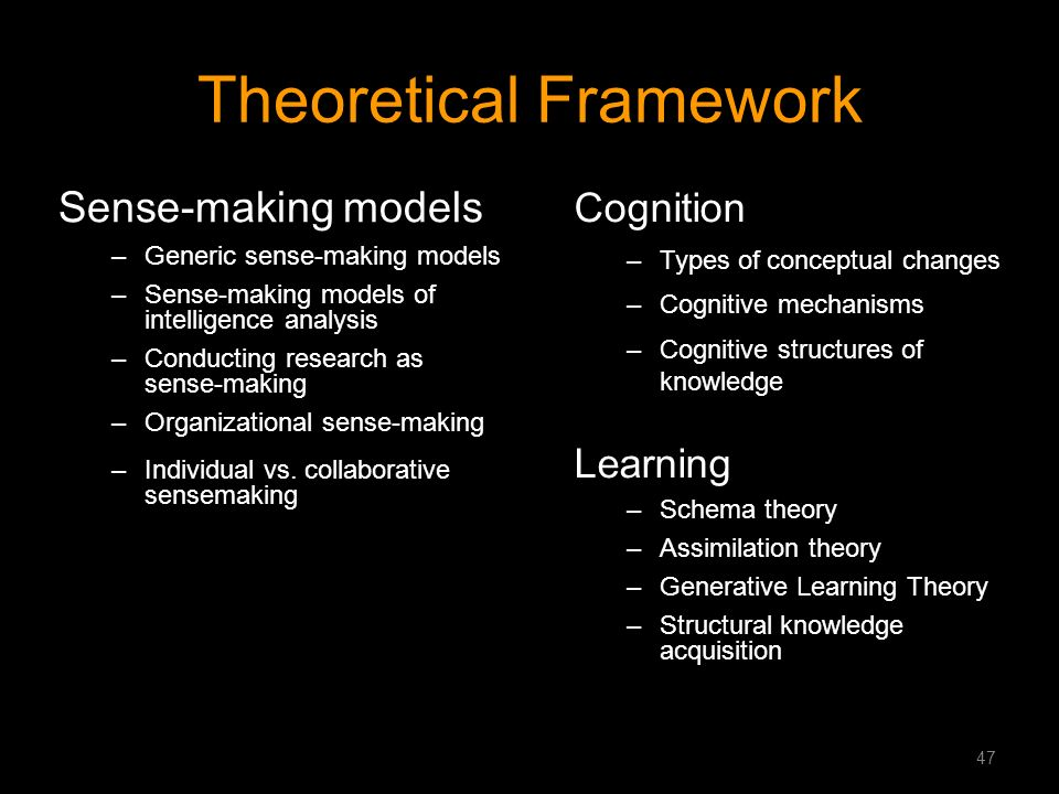 Theoretical Framework Sense-making models –Generic sense-making models –Sense-making models of intelligence analysis –Conducting research as sense-mak