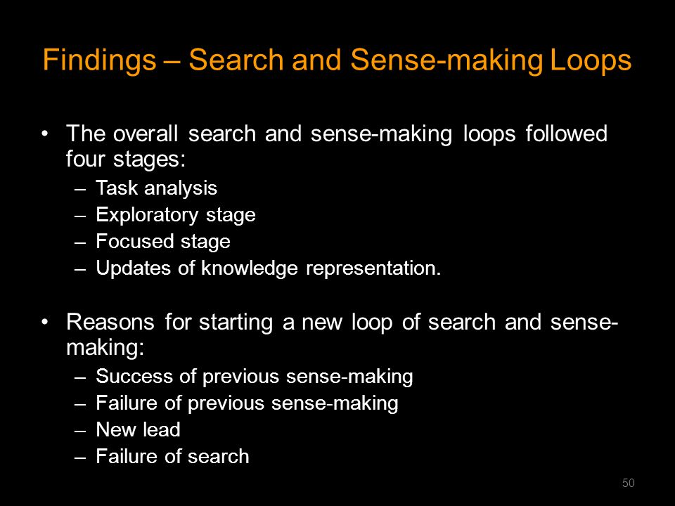 Findings – Search and Sense-making Loops The overall search and sense-making loops followed four stages: –Task analysis –Exploratory stage –Focused st