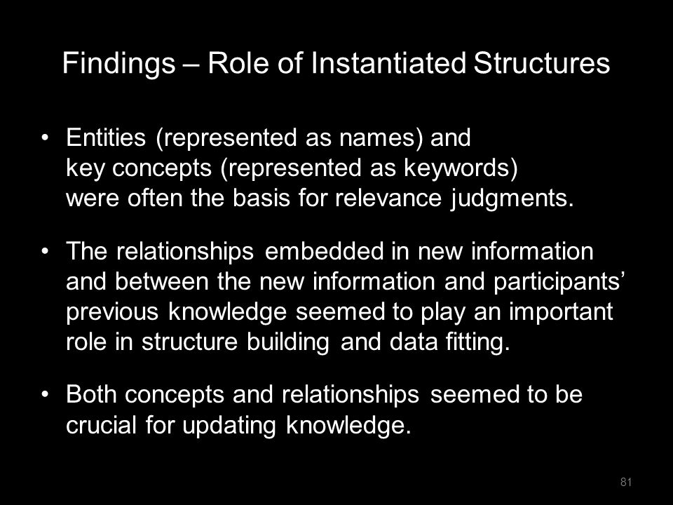 Findings – Role of Instantiated Structures Entities (represented as names) and key concepts (represented as keywords) were often the basis for relevan