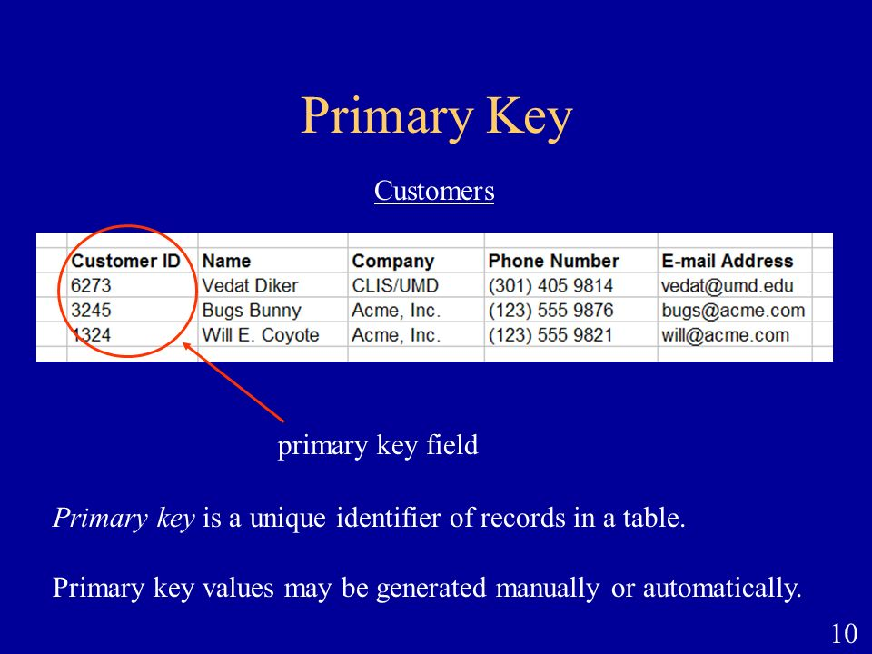 10 Primary Key primary key field Customers Primary key is a unique identifier of records in a table. Primary key values may be generated manually or a